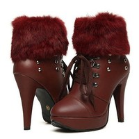 Buy Fashion Fuzz Rivet Embellished Bandage High Heel Shoes Wine Red with cheapest price|wholesale-dress.net