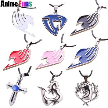 9 type Anime Fairy Tail Necklace Blue Pegasus Lamia Scale Sabertooth Guild Logo Pendant Gray Fullbuster Necklace Charm Gift