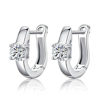 Small 8mm Huggie Hinged Hoop Earrings with 18K Gold plated Solitaire Cubic Zirconia for Women Girl and Men