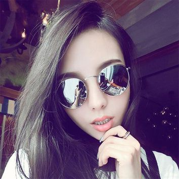 2017 New Cat Eye Aviator Sunglasses Women Vintage Fashion Metal Frame Mirror Sun Glasses Unique Flat Ladies Sunglasses