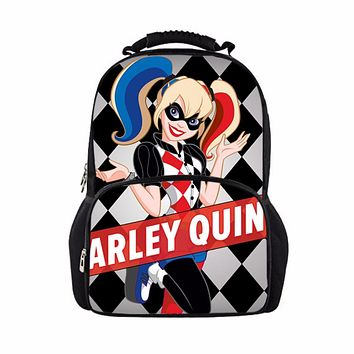 Suicide Squad Backpack for Teenager Children Harley Quinn Joker School Bags Mens Women Shoulder Bag Boys Girls School Backpacks