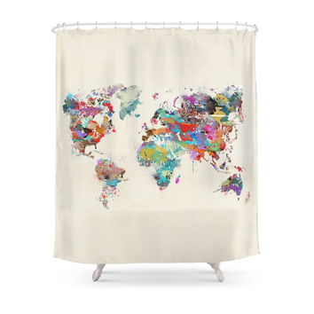 Society6 World Map Watercolor Shower Curtains