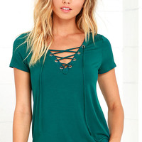 Enjoy the Ride Forest Green Lace-Up Top