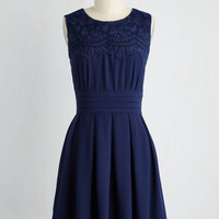 Vintage Inspired Mid-length Sleeveless A-line V.I.Pleased Dress in Cobalt
