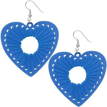 Blue Wooden Woven Heart Earrings