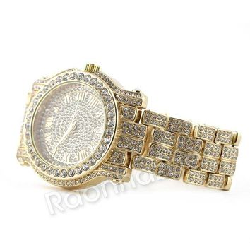 LMFA8C Hip Hop 14K Gold Simulated Diamond Watch F47