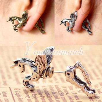 HOT Fashion Cool Punk Vintage Retro Cute Unicorn Horse Animals Ear Stud Earrings