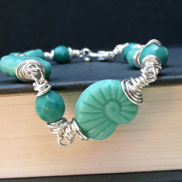 Nautilus Shell Bracelet:  Seafoam Mint Green Beaded Anklet, Fine Silver Wire Wrapped Autumn Beach Jewelry
