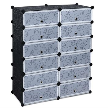 12-Cube Shoe Rack Cabinet Bedroom Closet Storage Organizer