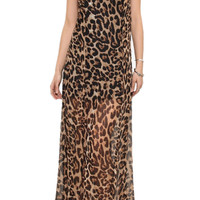 ROMWE V-neck Cut-out Straps Longline Leopard Dress