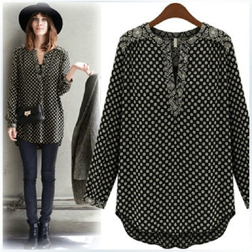 Fashion Women Black Dot Blouse European Style Spring & Autumn Casual Slim Shirt Tops Plus Size = 1956875012