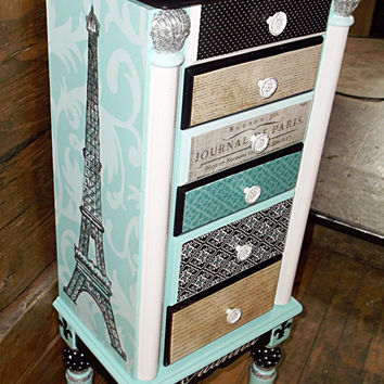 Paris Themed Jewelry Box, Jewellery Box, Jewelry Organizer, Jewelry Holder, Jewelry Stand, Jewelry Storage, Jewelry Armoire