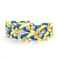 Wrap Bracelet, Stackable Bracelet, College Bracelet, Sorority Bracelet, Rhinestones, Blue, Yellow/Gold