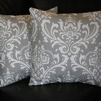 """Pillow Covers TWO 16 inch Decorative Throw Pillow Case storm grey and white DAMASK 16"""""""