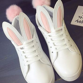 White Rabbit Ears Faux Fur Furball Casual Flat Shoes