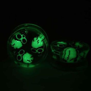 1X Flesh Ear Tunnel Stretcher Plug Gauges Earrings Steel Piercing Luminous Skull Luminous Skull Stud Earrings #30