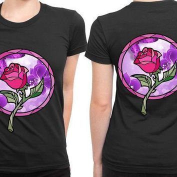 Stained Glass Rose Beauty And The Beast 2 Sided Womens T Shirt