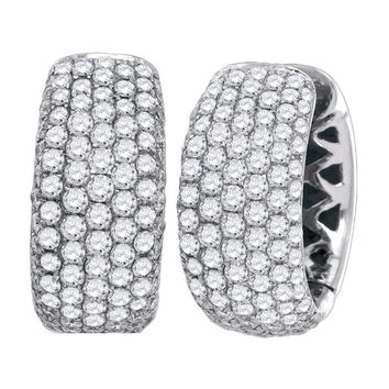 14kt White Gold Women's Round Pave-set Diamond Five Row Hoop Earrings 3.00 Cttw - FREE Shipping (US/CAN)