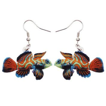 Big Long Acrylic Drop Dangle Green Mandarin Fish Earrings New Fashion Ocean Animal Jewelry For Women Girls Accessories