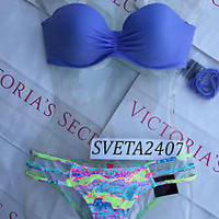 New Sexy Victoria's Secret Lilac Braided Madi Bandeau Bikini Strappy Bottom 34C
