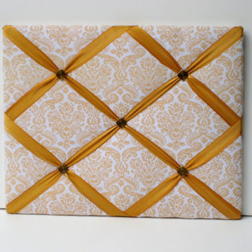 Art Deco styled French Memo Board, Romantic, Photo Memory Board in cream and gold Damask