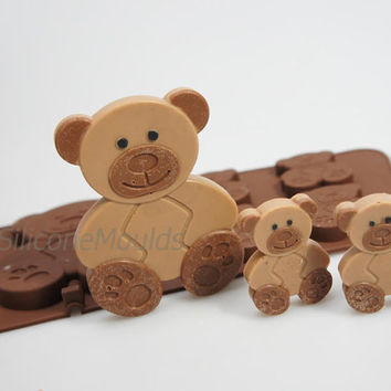 4+1 Teddy Bear Teddybear Animal Woodland Novelty Chocolate Silicone Mould Candy Lolly Cake Topper Silicon Mold - resin / craft / wax / soap