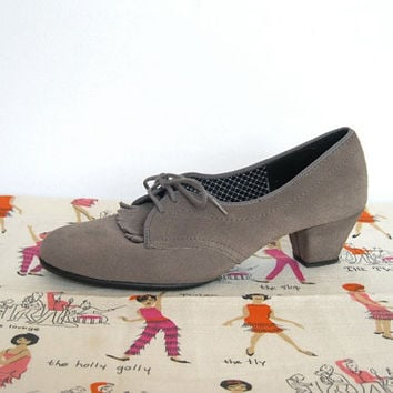 Vintage 1960s Daniel Green Outdorables / Gray Leather Oxford Shoes / Heels - Size 7