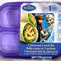 Disney Frozen 3 Sectional Lunch Kit Container w/ Lid Purple NEW NIP