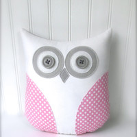 decorative owl pillow, pink pillow, pink gray nursery, gift under 40 by whimsysweetwhimsy, READY TO SHIP