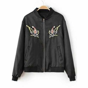 Fish Embroidered  Bomber Jacket - Black S