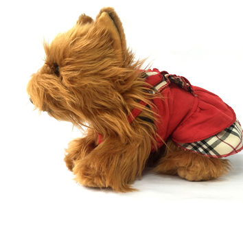 English Spaghetti Strapped Red Dog Dress