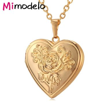 Photo Frame Memory Locket Pendant Necklace Silver/Gold Color Romantic Love Heart Vintage Rose Flower Jewelry Women Gift