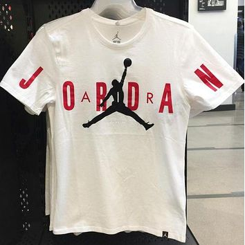 Jordan Tee Shirt Men Fashion Casual Sports Shirt Top Tee White