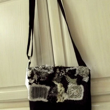Freeform Crochet Purse, Embellished Messenger Kindle Bag, Shoulder, Black White Op Art, Freeform Crochet,  shoulder bag laptop notebook