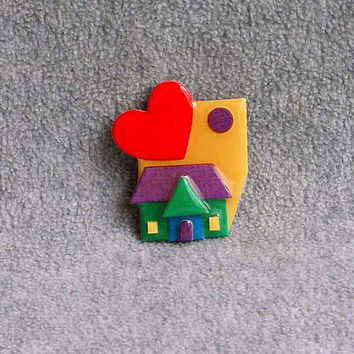 """Lucinda House Pin Red Heart Brooch With Full Moon 2 1/8"""" Tall By 2"""" Wide Purple Red Teal Mustard Green Figural Costume Jewelry Accessories"""
