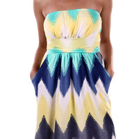 Colors of Summer Strapless Dress