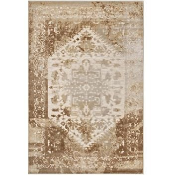 Rosina Distressed Persian Medallion 5x8 Area Rug