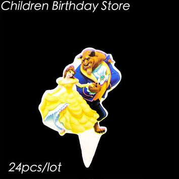 24pcs/lot Beauty and Beast theme cake topper Beauty and Beast theme birthday party decorations Beauty Beast cupcake decorations
