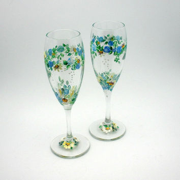 Painted Wine Glass Rings of Blue Rose and by PaintedDesignsByLona