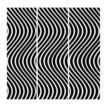 Optical Illusion Wavy Lines Triptych