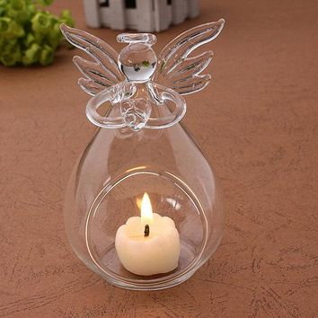 Angel Glass Candle Holder Hanging TeaLight Candlestick Clear Wedding Table Home Decor