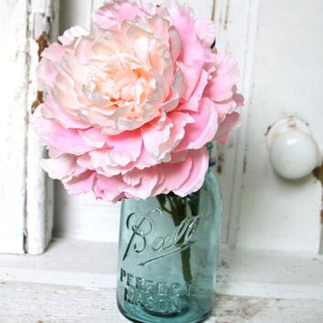 Vintage Blue Ball Quart Mason Jar - Wedding, Bridal, Gift , Floral