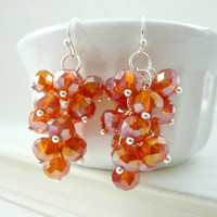 Orange cluster earrings crystal dangle bright fall colors silver drops