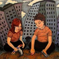 Original Oil Painting of Children in Playing in the City - Black