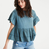 AE Tiered Ruffle T-Shirt, Green