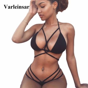 10 Colors Braided Strap Padded Bikini 2018 women Swimwear female two pieces swimsuit Thong Bathing Suit Swim Bather biquini V52