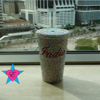"""Cup- Custom """"Your Name"""" AB Rhinestone Cold Cup"""