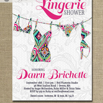 Lingerie Shower Invitation Lace Pink Navy Preppy Lilly Pulitzer Inspired Bridal Personal Shower Invite DIY Digital or Printed - Dawn Style
