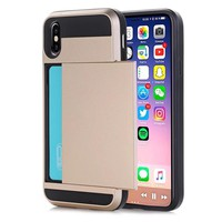 Slim Dual Layer Wallet Design for iPhone X 8 7 6S Plus & Gift Box