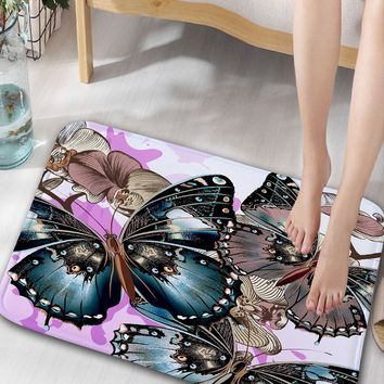 Butterfly Floral Pattern Flannel Water Absorption Bathroom Rug